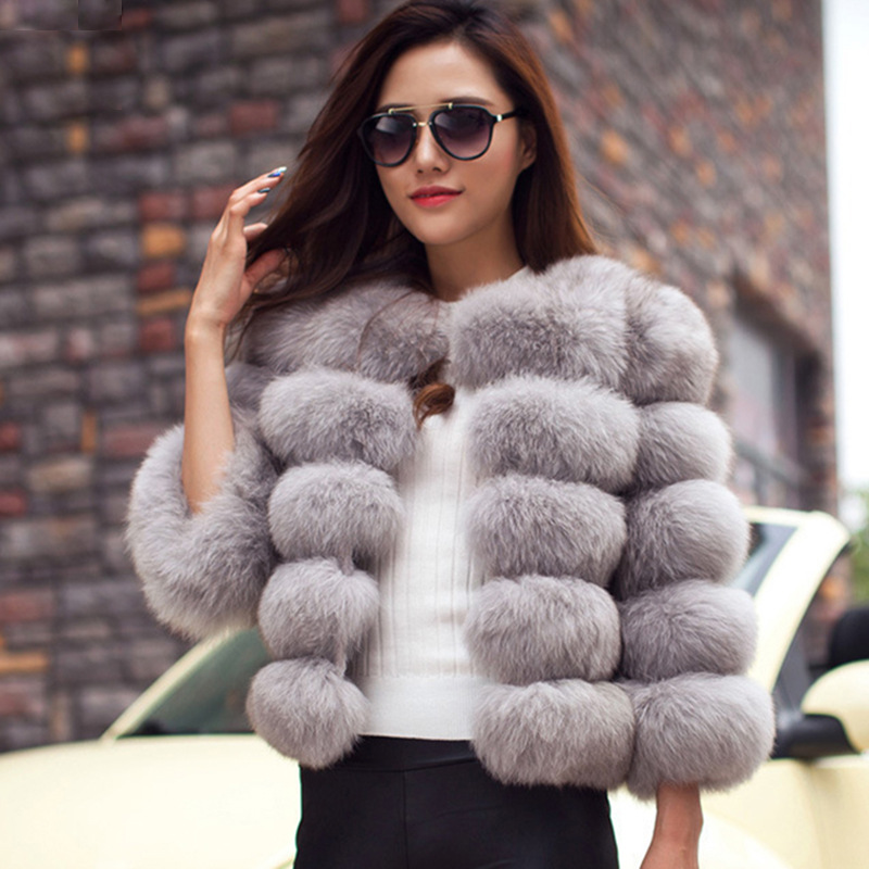 Customized Fur Coats Women Winter Top Fashion Pink FAUX Fur Coat Elegant Thick Warm Outerwear Fake Fur Jacket