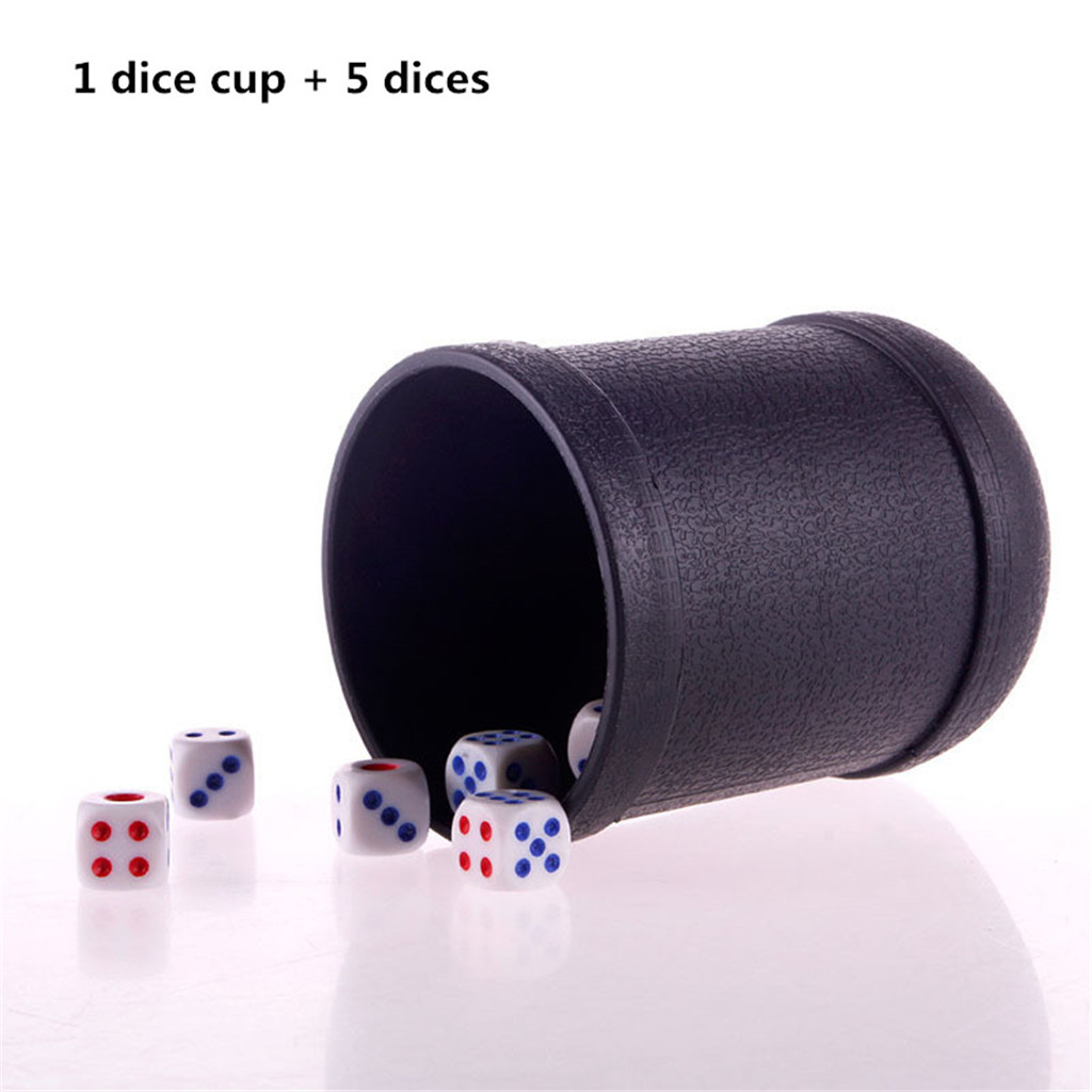 Black PVC Dice Cup Board Game KTV Pub Casino Party Game Dice Box with 5 Dices d