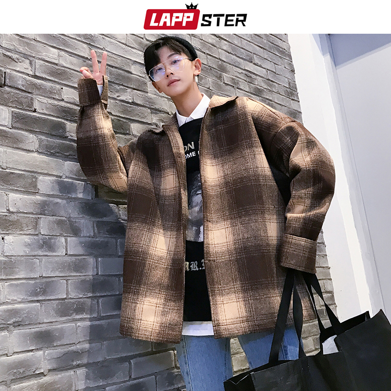 LAPPSTER Winter Coat Men Streetwear Plaid Wool Coats 2020 Mens Harajuku Vintage Korean Jackets Coats Hip Hop Windbreaker 5XL