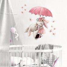 Autocollants muraux aquarelle Couple lapin volant avec parapluie, décoration pour chambre d'enfants et bébé, Stickers muraux rose pour filles