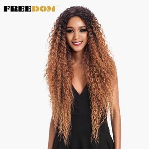Image 2 - FREIHEIT Haar Spitze Front Ombre Blonde Perücke 30 Inch Lange Wellenförmige African american Synthetische Perücken Farben Erhältlich Kostenloser Versand