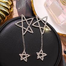 Big Rhinestone Star Drop Earrings 2019 New Statement Fashion Women Party Earrings Hanging Jewelry все цены