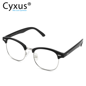 Image 1 - Cyxus Stylish Glasses Half rim Frame Eyeglasses Clear Lens for Men/Women Unisex Eyewear Black 8056