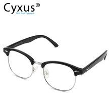 Cyxus şık gözlük yarım çerçeve gözlükler şeffaf Lens erkekler için/kadınlar Unisex gözlük siyah 8056