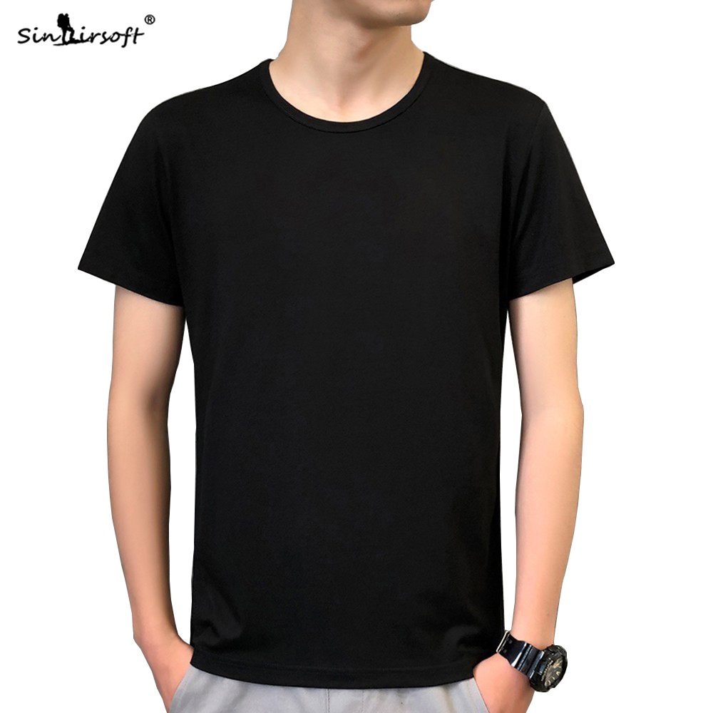 2019 Men's Summer Solid Color t-Shirt Black White t Shirt Short Sleeve Loose 3XL High Quality Apparel Top Free Shipping Hot Sale