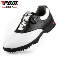 PGM Mens Golf Shoes Rotating Buckle Lace Activity Nail Training Tennis Shoes Waterproof Microfiber Leather White Black US7 US10
