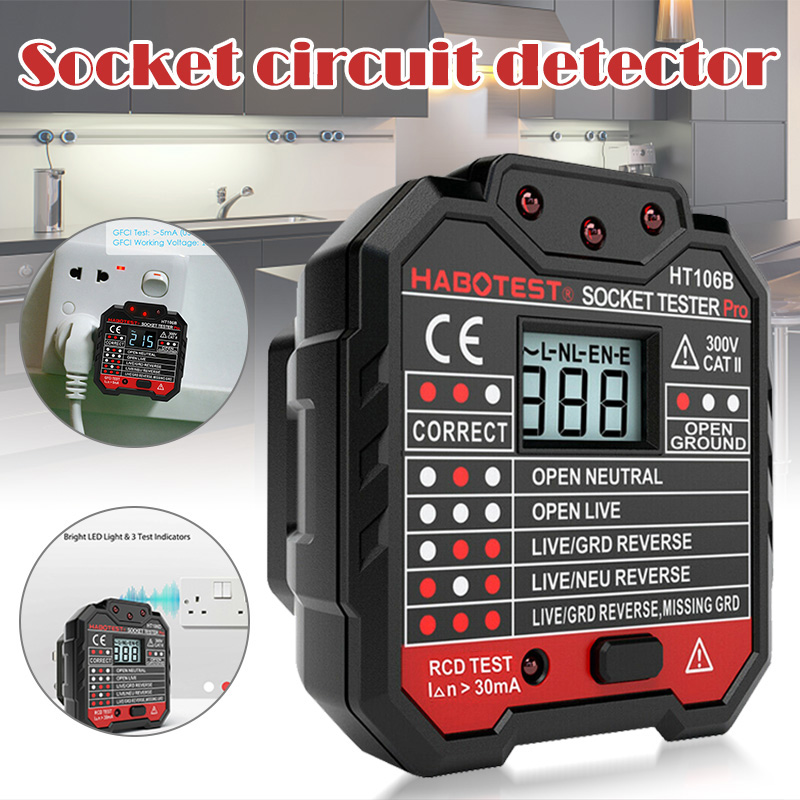 Socket Outlet Tester Circuit Polarity Voltage Wall Plug Breaker Finder With RCD/GFCI JS23