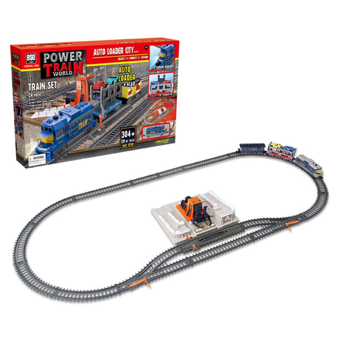 24 pces 304cm elétrico faixa de luz pequenas carruagens trem conjunto estação de carga crianças brinquedo trem
