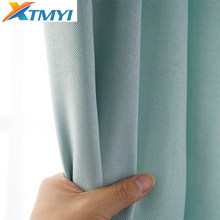 Faux Linen Blackout Curtains for Living Room Modern Solid Color Curtains for Bedroom Window Curtains for Bedroom Blinds(China)