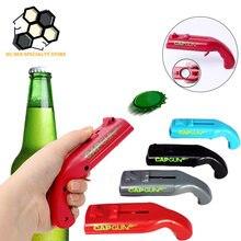 Tampa portátil arma criativa voando tampa lançador garrafa abridor de cerveja barra ferramenta bebida abertura arma em forma de garrafa tampas atirador cinza vermelho