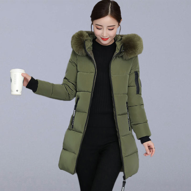 Winter Thicken Warm Long Jackets Women Casual Coats New Fashion Korean Style Hooded With Fur Parkas Female Outerwear Coats P110
