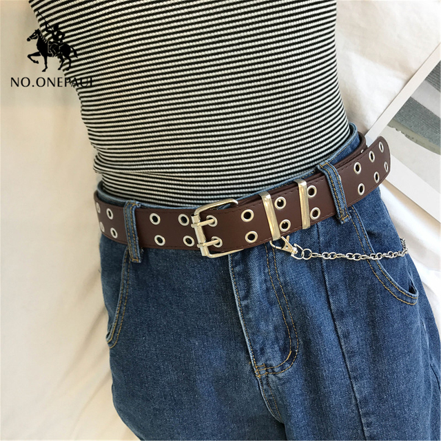 Genuine Leather New Punk style fashion Pin Buckle Decorative Chain luxury brand belts for women 5