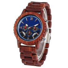 Fashion Red Sandalwood Strap Wood Watches for Men Large Dial with Luminous Pointers Wooden Watch Charming Wristwatch
