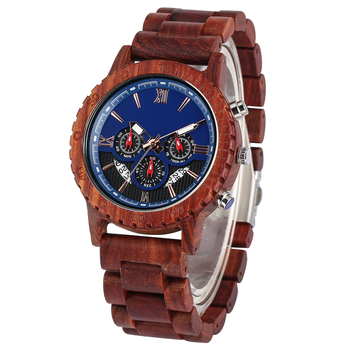 Fashion Red Sandalwood Strap Wood Watches for Men Large Dial with Luminous Pointers Wooden Watch Charming Wooden Wristwatch bobo bird zebra series wood watches simple wooden dial quartz wristwatch for gift