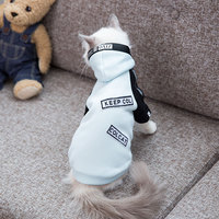 Cats polyester cloth embroidered English Ribbon fashion clothing pet tide brand autumn winter clothing padded warm feet clothes