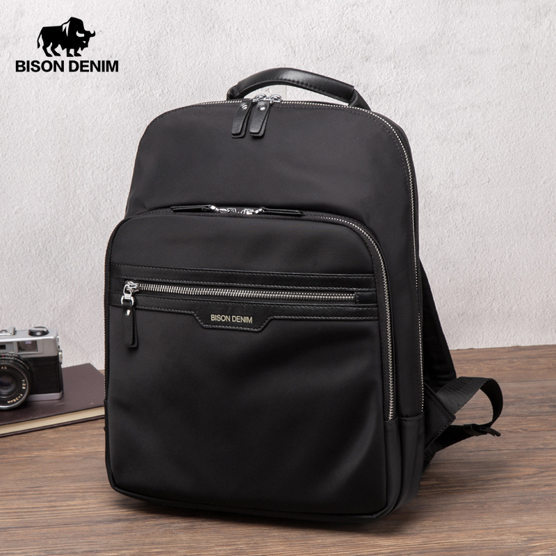BISON DENIM Waterproof Backpack Male 14 Inch Laptop Travel Bag Fabric Multi-layer Fashion Backpack Schoolbag For Men N2337-3