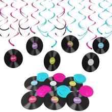12pçs temática musical de pendurar, decorações de sfiar e rolar, gravação de rocha e rolo, decoração de festa de aniversário para crianças