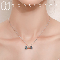 100% 925 sterling silver turquoise dumbbell pendant necklace personality original design for women fashion jewelry 2 colors