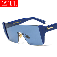 ZT Big Frame Half Women Oversized Square Sunglasses Brand Designer Men Red Tinted Lens Glasses Mirror Shades