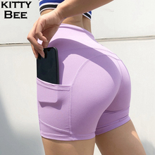 Yoga Shorts High Waist Pants With Pockets Gym Women Leggings Sport Fitness Workout Sportswear