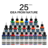 25Pcs Tattoo Ink Fusion tattoo inks 25 Colors Set 1 oz 30ml/Bottle Tattoo Pigment Kit for 3D makeup beauty skin body art supply