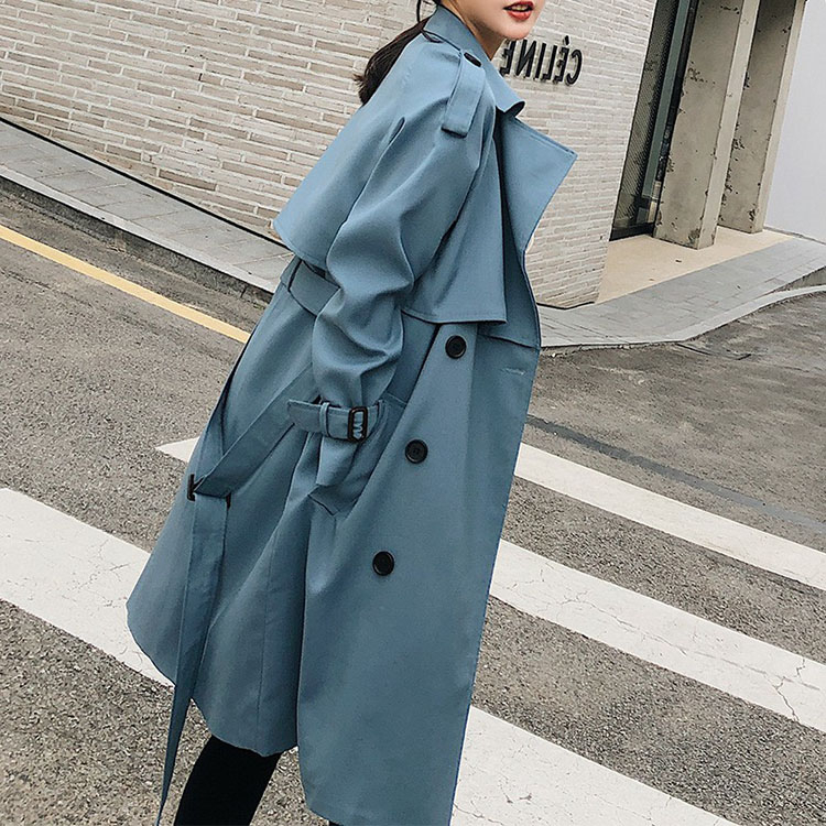 2020 Spring Autumn  Female  New Casual Belt Trench Coats Loose Long Sleeve Overcoat Ladies Double Breasted Outerwear FY10