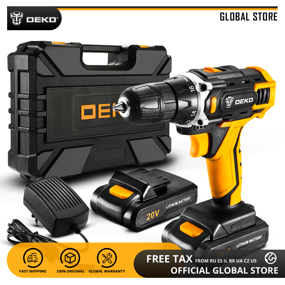 DEKO New Banger 12V Loner 16V Sharker 20V Electric Screwdriver with Lithium Battery Cordless Drill Power Tools for Woodworking