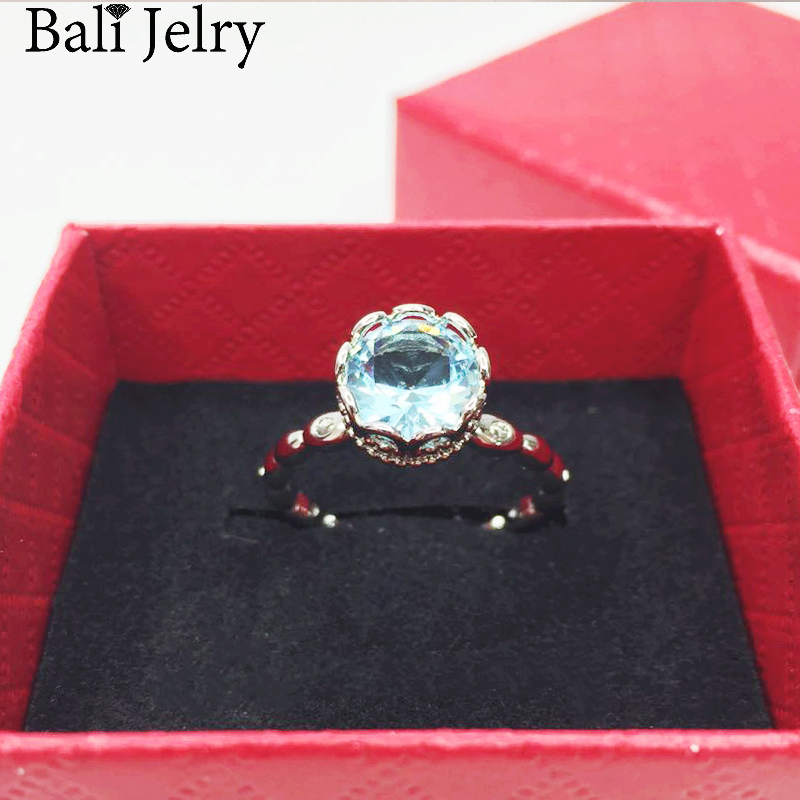 Bali Jelry Fashion Charm Ring 925 Silver Jewelry Round Shaped AAA Zircon Gemstone Accessories Rings for Women Wedding Engagement