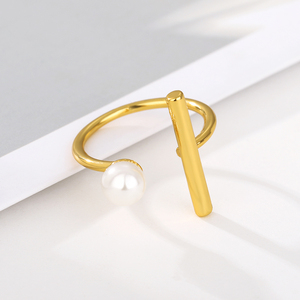 Vintage Bar Open Luxury Pearl Rings for Elegant Women Girl Creative Geometric Party Accessories 2020 Fine Jewelry Gifts Anillos