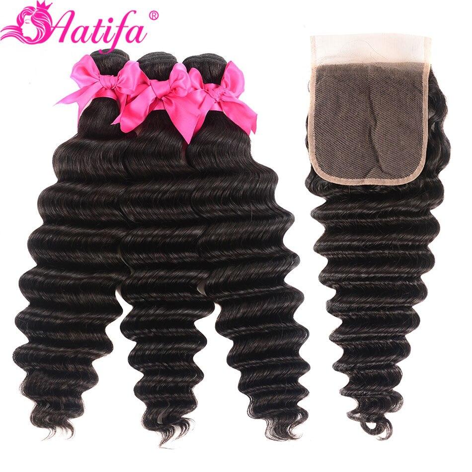 Malaysian Loose Deep Wave Bundles With Closure 100% Human Hair 3 Bundles With Closure Remy Hair Bundles With Closure Aatifa Hair