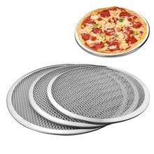 Bandeja de pizza de alumínio metal malha redonda pizza panqueca rede cozimento pan pizza tela líquida pastelaria ferramentas de cozimento 6/7/8/9 polegadas