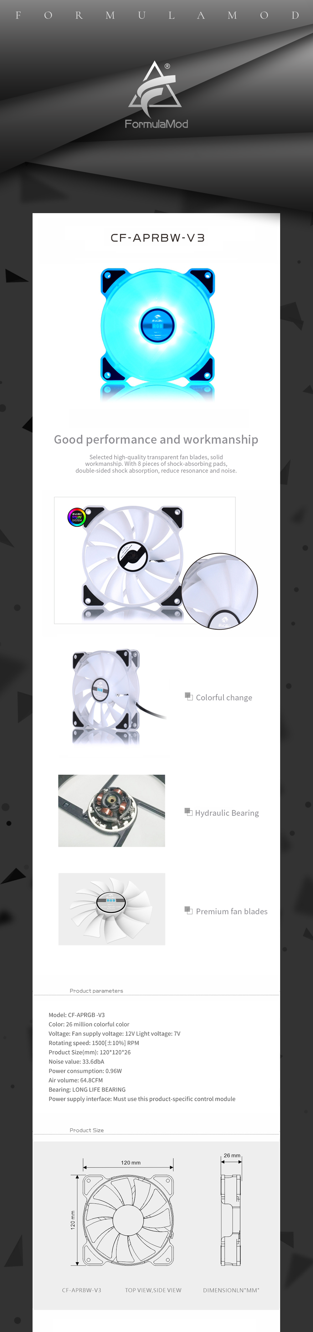 Bykski RGB 12v Computer Fan 120mm Mute Water Cooling Fan For PC Case 120/240/480 Radiator Colorful Cooler For PC Cooling CF-APRGB-V3