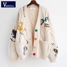 Vangull outono inverno bordado feminino cardigan quente camisola de malha jaqueta bolso moda malha cardigan casaco senhora solta camisola