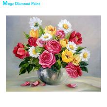 desktop vase Moge Diamond Painting Full Round red rose floral New DIY sticking drill cross embroidery 5D simple home decorative