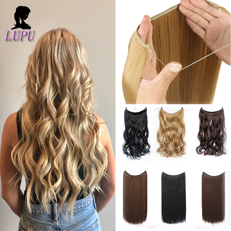 """LUPU 24""""  Long Wavy Fish Line Hair Extensions Invisible Wire Secret No Clips In Hairpieces Synthetic Heat Resistant Fiber"""
