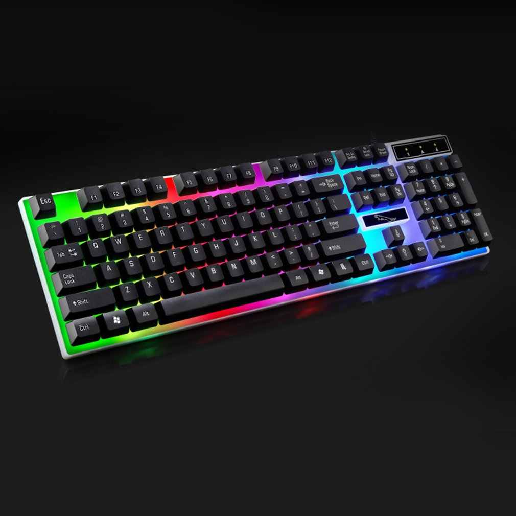 G21 USB Wired Mekanis Ditangguhkan Keyboard Colorful Backlight Gaming Keyboard Tahan Air untuk Komputer PC Gamer