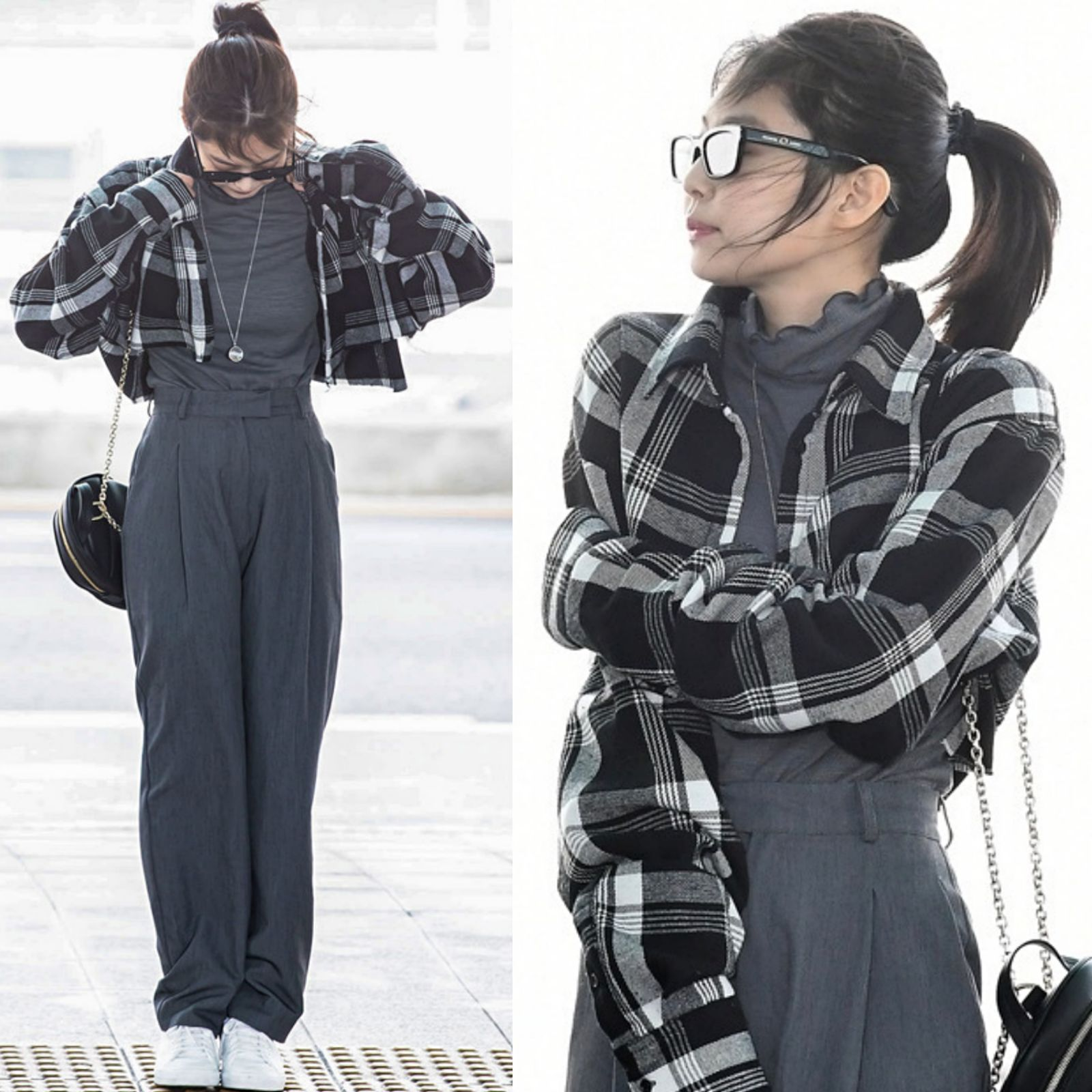 Kpop BLACKPINK JENNIE Korean Retro Plaid Lapel Short Shirt +gray Turtleneck Long Sleeved T Shirt Loose Pants Trousers Women Set