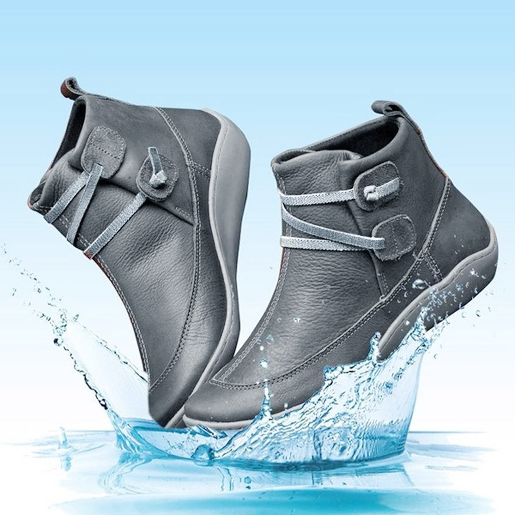 SAGACE Women Rain Boots Waterproof Leather Ankle Boots Female Boots Rubber Round Toe Boots Waterproof Best-selling Style 1205 image