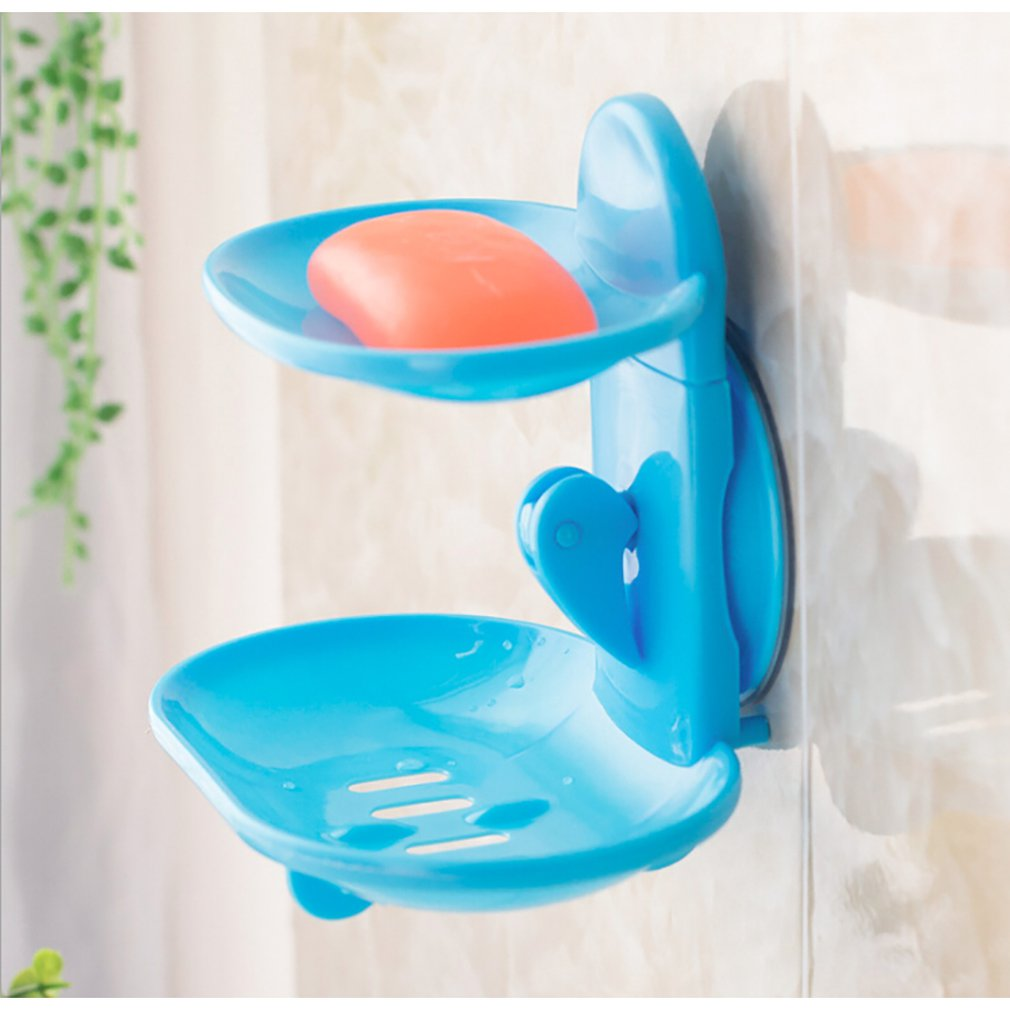 Fashionable Double Layers Home Bathroom Soap Dishes Holder Rack Strong Suction Cup Type Soap Basket Tray Organizer