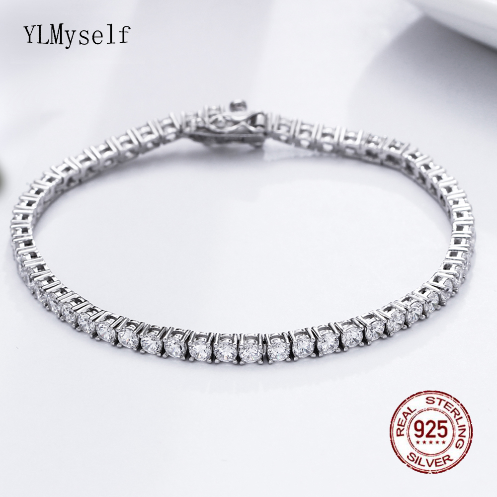 Classic 17.5 cm tennis bracelets Real 925 silver jewelry 2mm 3mm 4mm 5A Zironia Eternal wedding luxury sterling silver Bracelet