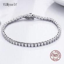 Klasyczne 7 Cal bransoletki tenisowe prawdziwe 925 srebro biżuteria 2mm 3mm 4mm 5A Zironia wieczne wesele luksusowe srebro bransoletka