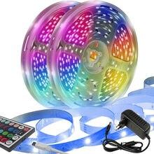 Tira de luces LED de 50 pies (alrededor de 15 metros) con mando a distancia infrarrojo de 44 teclas, 12V, 2 rollos de tira de luz RGB EU5050 (7,5 M por rollo)