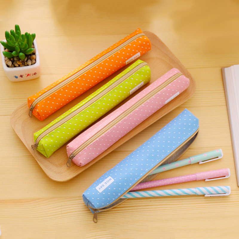 1 piezas. Linda caja de lápiz de Color caramelo Kawaii Dot bolsa de lápiz de lona y caja para niñas papelería bolsa de regalo Oficina la escuela suministros