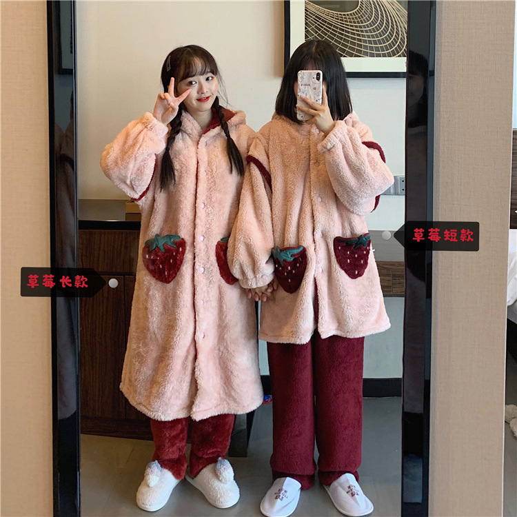 Photo Shoot 2019 Autumn And Winter Korean-style Best Friend Strawberry Hooded Pajamas Homewear Set Fashion