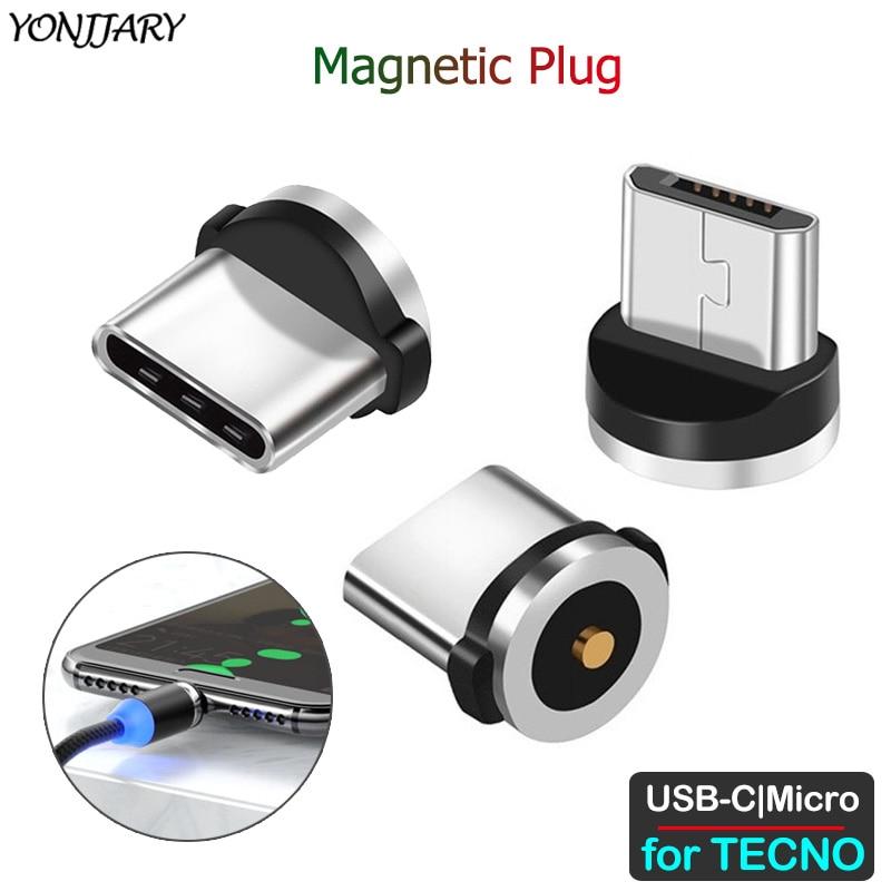 Round Magnetic Adapter Cable For TECNO Phantom 8 6 Pouvoir 1 Spark 2 3 4 Camon CX CM 11 12 15 Air Plus Pro Micro USB Type C Plug