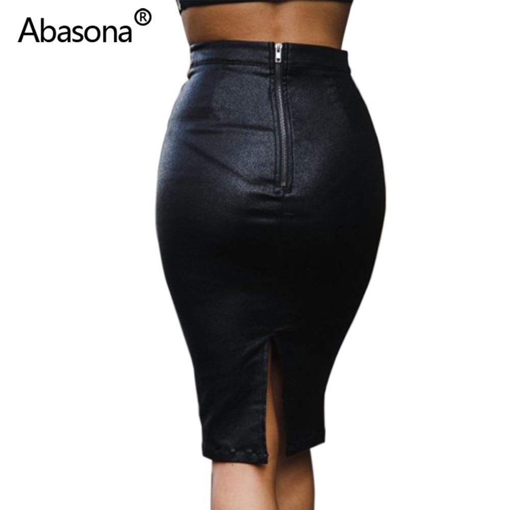 Abasona Velvet High Waist Long Pu Leather Pencil Skirt Zipper Split Knee Length Sexy Bodycon Midi Skirts Casual Autumn Winter