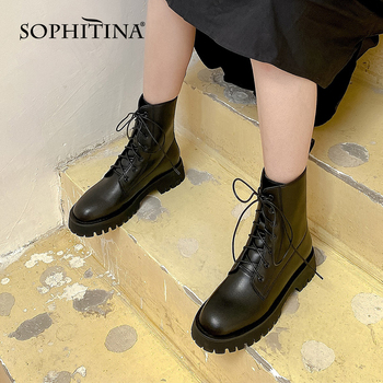 SOPHITINA Women's Shoes New Arrival Ankle Boots Round Toe Genuine Leather Handmade Boots Black Comfortable Anti-skid Boots SO574 sophitina wool winter boots high quality genuine leather comfortable round toe square heel shoes new handmade women boots c624