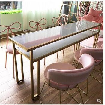 Nordic netto czerwony stół do manicure podwójny marmurowy stół do manicure stół z krzesłami pojedynczy stół prosty nowoczesny europejski fotel tanie i dobre opinie CN (pochodzenie) Metal Salon mebli Stół paznokci Meble sklepowe