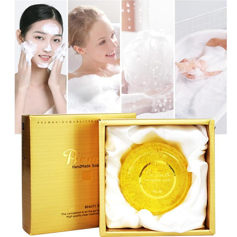 24K Gold Handmade Soap Patented Acne Treatment Removing Mites Acarid Remove Mild Powerful Natural Skin-friendly Product