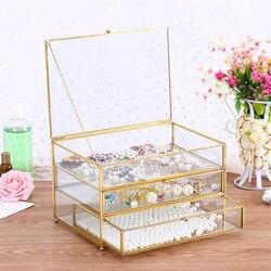Ящики для ювелирных изделий, стеклянная коробка для хранения ювелирных изделий, золотой ободок, органайзер для ювелирных изделий, прозрачн...